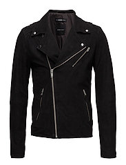 SHXBILLY SUEDE BIKER JACKET - BLACK