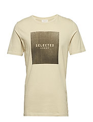 SLHLOGO SS O-NECK TEE W - OYSTER GRAY