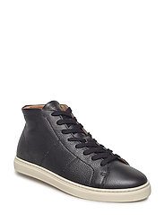SLHDAVID HIGHTOP LEATHER TRAINER W - BLACK