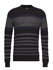 SLHJOE STRIPE CREW NECK B - BLACK