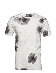 SLHALEX BIG FLOWER SS O-NECK TEE B - WHITE