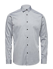SLHSLIMJOHN-CAMP SHIRT LS MIX B - LIGHT GREY MELANGE