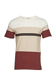 SLHJACK BLOCK SS O-NECK TEE W - BRICK RED