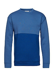 SLHPATT BLOCK CREW NECK SWEAT W EX - FEDERAL BLUE