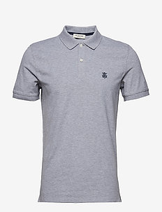 SHDARO SS EMBROIDERY POLO NOOS - korte mouwen - medium grey melange