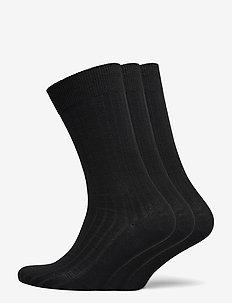 SLHPETE 3-PACK COTTON RIB SOCK - normalne skarpetki - black