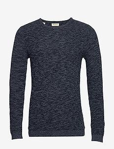 SLHNEWVINCEBUBBLE CREW NECK W EX - basic knitwear - dark sapphire