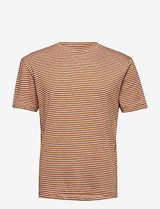 SLHMARTIN STRIPE SS HIGH NECK TEE B - short-sleeved t-shirts - glazed ginger