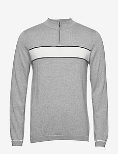 SLHIVAN ZIP NECK B - half zip jumpers - medium grey melange