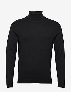SLHTOWER COT/SILK ROLL NECK B - BLACK