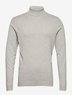 SLHTOWER COT/SILK ROLL NECK B - LIGHT GREY MELANGE