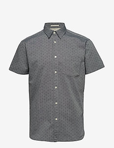 SLHSLIMMATTHEW SHIRT SS AOP W - short-sleeved shirts - smoked pearl