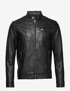 SLH C-01 CLASSIC LEATHER JACKET W NOOS - skinnjackor - black