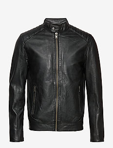 SLH R-03 RACER  LEATHER JKT W NOOS - nahkatakit - black