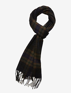 SLHTOPE WOOL CHECK SCARF B - BLACK