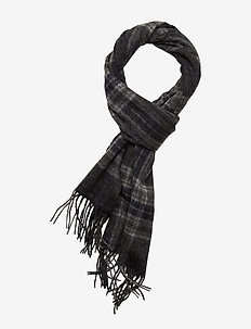 SLHTOPE WOOL CHECK SCARF B - sjaals - dark grey