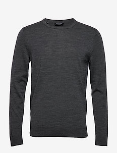 SLHTOWER NEW MERINO CREW NECK B NOOS - pyöreäaukkoiset - medium grey melange
