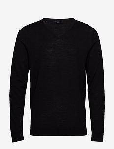 SLHTOWER NEW MERINO V-NECK B NOOS - basic knitwear - black