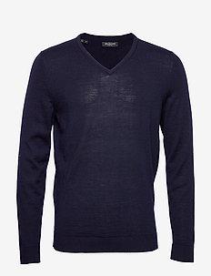 SLHTOWER NEW MERINO V-NECK B NOOS - basisstrikkeplagg - navy blazer
