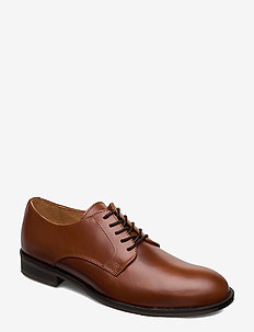SLHLOUIS LEATHER DERBY SHOE B NOOS - snøresko - cognac