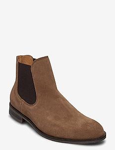 SLHLOUIS SUEDE CHELSEA BOOT B NOOS - chelsea boots - cognac