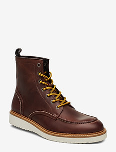 SLHTEO LEATHER MOC-TOE BOOT W - COGNAC