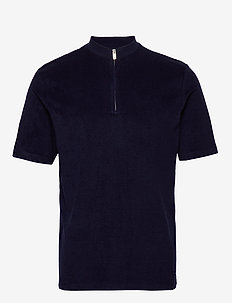 SLHTERRY ZIP SS POLO B - MARITIME BLUE