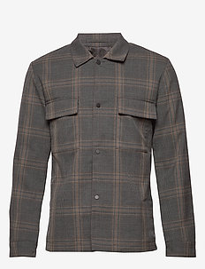 SLHREGULAR-CODE CHECK HYBRID BLZ B - overshirts - grey