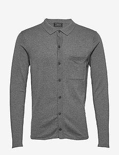 SLHELI POLO CARDIGAN B - basic knitwear - medium grey melange
