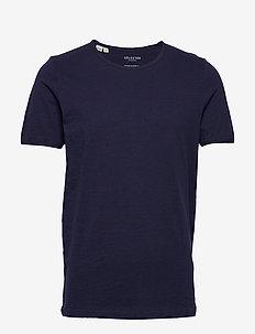 SLHMORGAN SS O-NECK TEE W NOOS - basic t-shirts - maritime blue