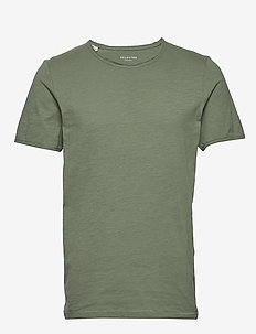 SLHMORGAN SS O-NECK TEE W NOOS - basic t-shirts - sea spray