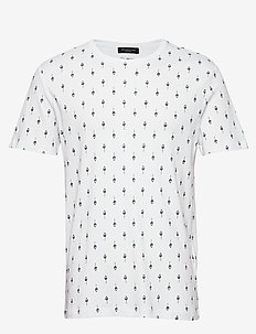 SLHSADE AOP SS O-NECK TEE B - kortærmede t-shirts - bright white