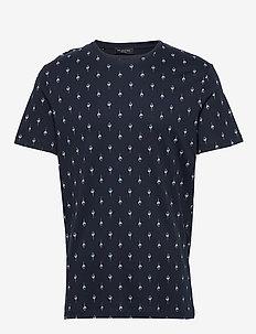 SLHSADE AOP SS O-NECK TEE B - kortærmede t-shirts - sky captain