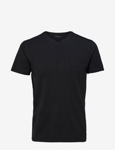 SLHNEWPIMA SS V-NECK TEE B NOOS - podstawowe koszulki - black