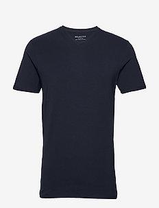 SLHNEWPIMA SS V-NECK TEE B NOOS - basic t-shirts - navy blazer