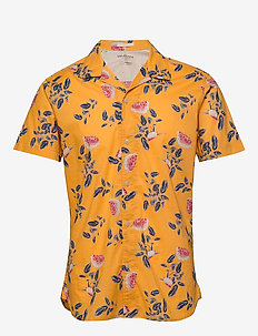 SLHSLIMGALE SHIRT SS AOP W CAMP - short-sleeved shirts - zinnia
