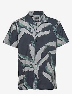 SLHREGAVALON SHIRT SS AOP B - chemises à manches courtes - black