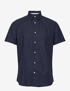SLHSLIMDIXON SHIRT SS MIX B CAMP - basic shirts - dark sapphire