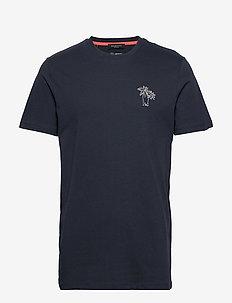 SLHWAYNE EMB SS O-NECK TEE B - basic t-shirts - sky captain