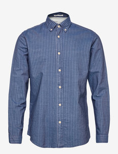 SLHSLIMNOLAN-MIXER SHIRT LS W - denimowe koszulki - medium blue denim