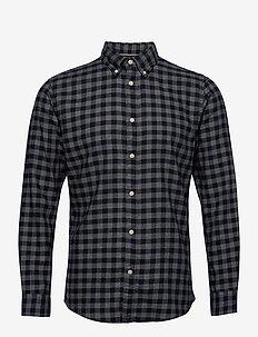 SLHSLIMFLANNEL SHIRT LS W NOOS - rutede skjorter - dark blue