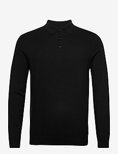 SLHBERG LS POLO NECK B - long-sleeved polos - black