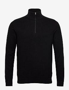 SLHBERG HALF ZIP CARDIGAN B NOOS - half zip-tröjor - black