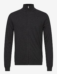 SLHBERG FULL ZIP CARDIGAN B NOOS - basic knitwear - antracit