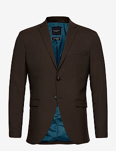 SLHSLIM-MYLOLOGAN DK BROWN BLAZER B - marynarki - coffee bean