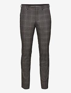 SLHSLIM-MYLOLOGAN GRY BRW CHK TRS B NOOS - pantalons décontractés - grey