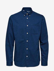 SLHREGRICK-DENIM SHIRT LS S NOOS - denim shirts - dark blue denim