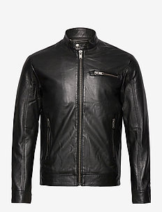 SLHICONIC CLASSIC LEATHER JKT W NOOS - leather jackets - black