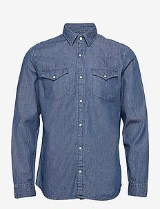 SLHREGJAMIE SHIRT LS DENIM U - basic skjortor - dark blue denim