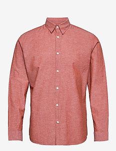 SLHSLIMNEW-LINEN SHIRT LS W - rutiga skjortor - ketchup